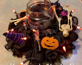 Lighted Halloween Candle Ring, Halloween Decor, Halloween decoration, Halloween Centerpiece