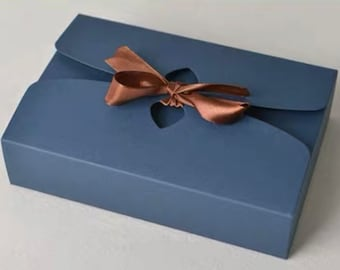"""Black/Blue/Brown Kraft Box with Bow Ribbon -Favor Boxes, Gift Boxes, Cake Boxes, Bakery Boxes- 8.2x5.5x2""""/5.5x5.5x2in-Set of 3"""