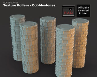 Cobblestone Rolling Pin Texture Rollers D&D 28mm   32mm terrain (DnD, Dungeons and Dragons, Pathfinder, Starfinder, Frostgrave, Mordheim)