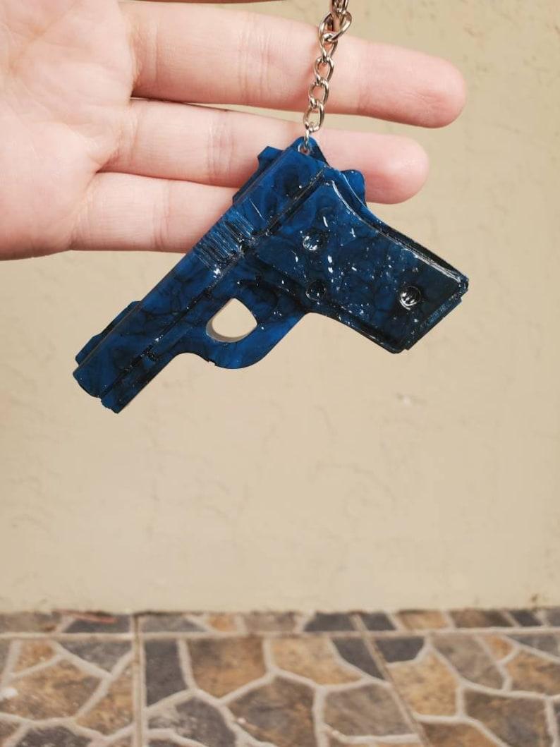 Car coasters Plate frame blue black marbled Car set handmade pistol Keychain