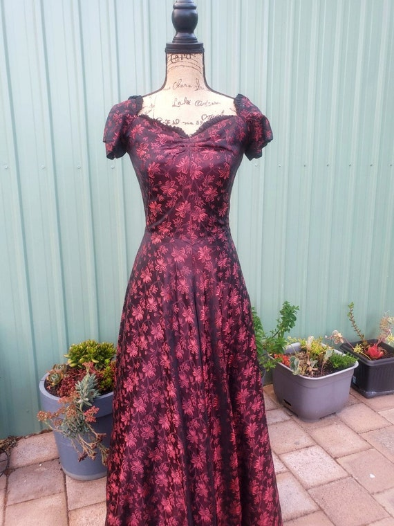 1940s Red Burgundy Floral Evening Gown