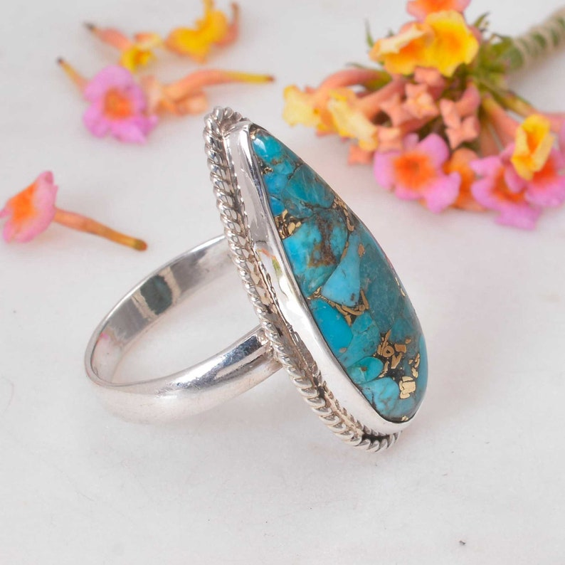 Turquoise ring,Sterling silver ring,Gemstone ring,Statement ring,Turquoise jewelry,Turquoise stone ring,Silver ring,Boho rings,Gift for her