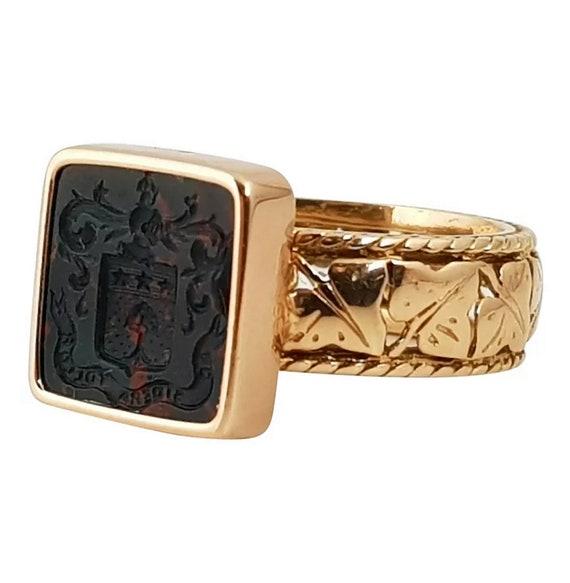 Antique Bloodstone Intaglio Signet Ring, Heraldic