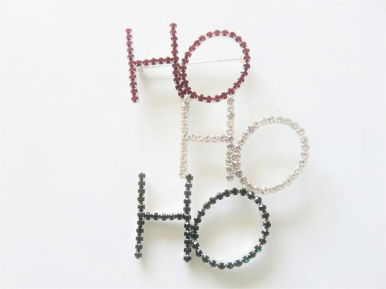 3 colors H0-HO-HO rhinestone brooch