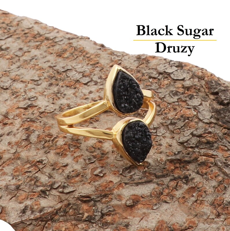 1620 Natural Sugar Druzy Rings Gold Plated Adjustable Pear Shape Rings Stylish Gemstone Rings Wholesale Gift Rings For Women /& Girls.