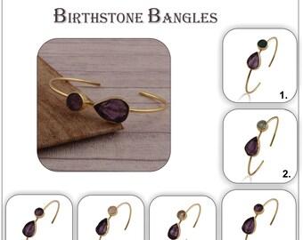 Amethyst, Citrine, Rose Quartz Rough Gemstone Bangles, Gold Plated Stacking Adjustable Bracelet Jewelry, Raw Gemstone Bangle For Gift 1859
