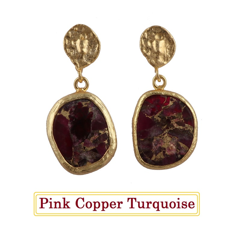 B-3746 Pink Copper Turquoise Earring Jewelry Mohave Turquoise Stud Earrings. Wholesale Earring Jewelry Texture Gold Plated Earring