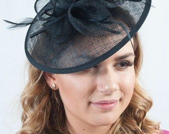 Race day Occasion wear Wedding guest Oriental Lily Orange Floral Sinamay Fascinator Hat
