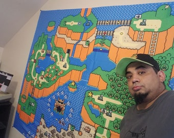 HUGE Super Mario World tapestry map - 5 x 5 feet and ready to hang - Super Nintendo