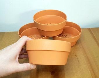 Shallow Pan Bowl Pot for houseplants|Sturdy Plastic (Terracotta) highly draining, AV Trailer or other, Hoya,Bonsai,Cactus, Flower,Succulent