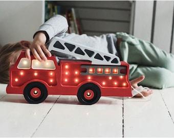 Wooden Fire Truck Lamp