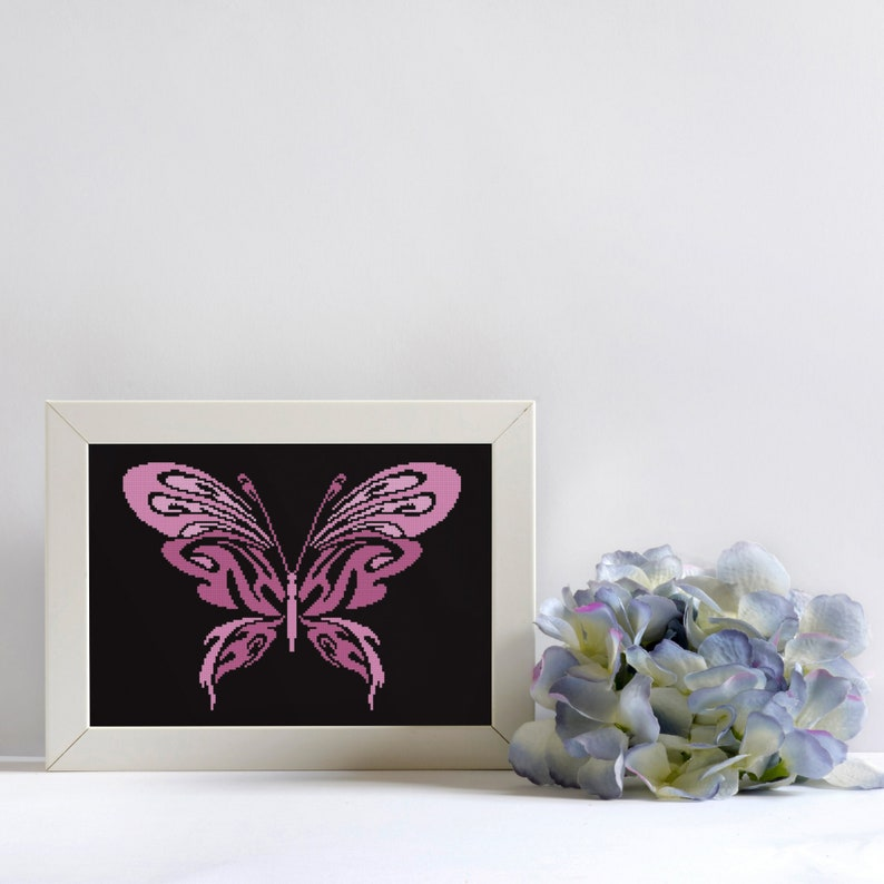Butterfly Cross Stitch Pattern PDF Primitive Digital DIY Home Decor Chart Bright Pink Colorful Insect Easy 3 Color Xstitch Ornament
