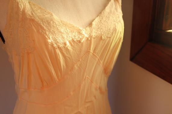 vintage 1930's long slip delicate with lace hem