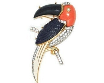 COUTURE NUMBER JEWELLERY Vintage Kenneth Jay Lane Unisex A Rare Gold Tone Multicoloured Toucan Brooch