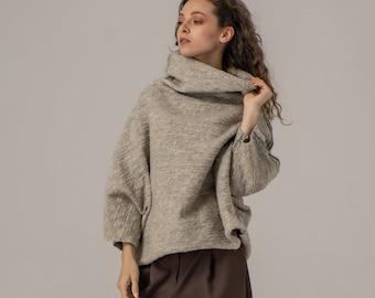 Textured Boiled Wool Sweater, 100% Wool Sweater, Cozy Sweater, Raglan Bracelet Sleeves, Avantgarde Pullower, Winter Blouse, Minimalist