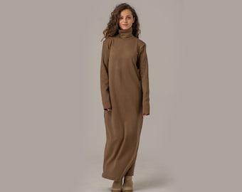 Knitted Turtleneck Dress, Sweater Maxi Dress, Wool Knit Dress, Oversize Dress, Warm Winter Dress, Elegant Long Dress, Casual Dress, Wool