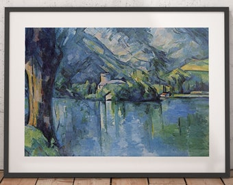 lac annecy by cezanne, lac annecy travel poster, lac annecy poster, lac annecy print, lac annecy travel, travel poster, wall decor