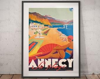 annecy, annecy travel poster, annecy poster, annecy print, annecy travel, travel poster, wall decor