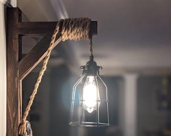 Wall Sconce | Edison Light | Pendant Wall Light | Wall Lamp | Wood Wall Sconce | Rustic Lamp | Wooden Lamp | Industrial Decor | Hanging Lamp