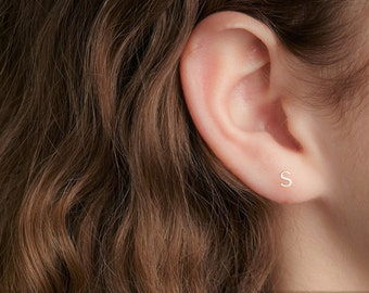 14K Gold initial stud earrings for women stud earrings for women gold birthday gift for friend Gift for Her Earrings