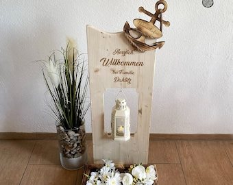Wood decoration sign with desired name, flower box and wish lantern home port in the anchor