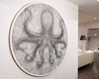Kraken Octopus String Art DIY Nautical Wall Art Unique Handmade Gift Tentacle Art