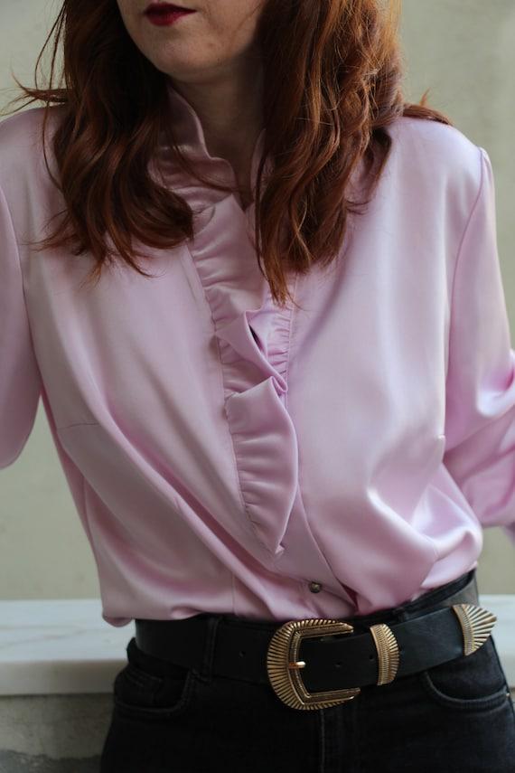Vintage lilac ruffled blouse - image 5