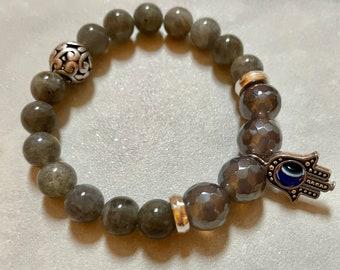 Labradorite and Silver Luster Smoky Quartz Beaded Bracelet