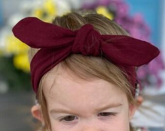 Hearing Aid Friendly Headband Big Bow; Burgundy