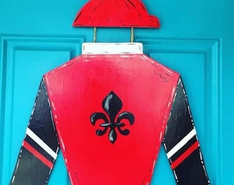 KY Derby Jockey Silks Door Hanger Kentucky Derby Decor
