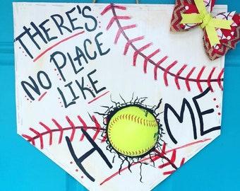 Softball Home Plate Door Hanger Baseball