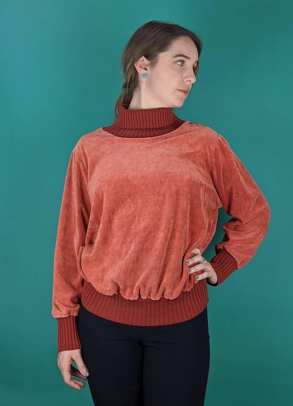 70s Retro Burnt Orange Velour Turtleneck Sweater (