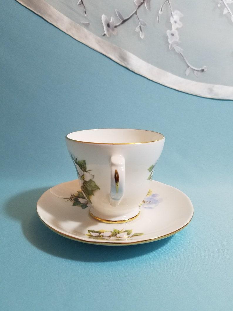 Vintage Crown Trent Fine Bone China Staffordshire England Footer Tea Cup and Saucer Set Souvenir Niagara Falls Ontario