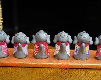 6 HAPPINESS KAWAII JIZOs  Kimono  (gift,ornament,amlet,Japanese items,Japanese art  -new style pottery-)