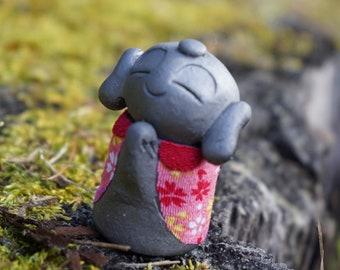"Popular item!!  HAPPINESS KAWAII JIZO  Kimono ver. A""  (gift,ornament,amlet,Japanese items,Japanese art  -new style pottery-)"