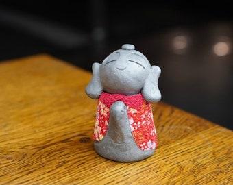 "popular item!! HAPPINESS KAWAII JIZO  Kimono ver. E""  (gift,ornament,amlet,Japanese items,Japanese art  -new style pottery-)"