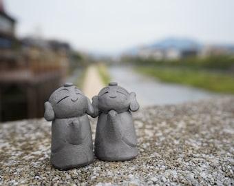 TWO  HAPPINESS KAWAII JIZOs            (gift,ornament,amlet,Japanese items,Japanese art  -new style pottery-)