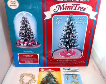 1993 Westrim Craft Christmas Preassembled Glass Beaded Mini Tree Starter Kit New
