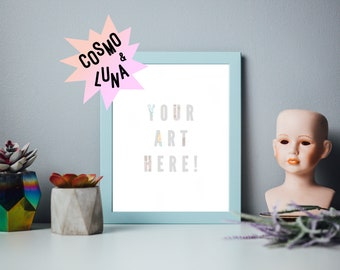 Frame Mockup 8x10 - Pastel, 8x10, Frame mock up vertical, Oddities, Pastel Frame, Quirky, Template, Photoshop, 4x5, Doll Head