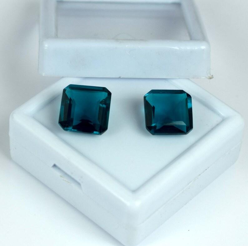 Brazilian 12-14 Ct Blue Apatite Eye Clean Gemstone Pair Octagon Cut Natural AGI Certified