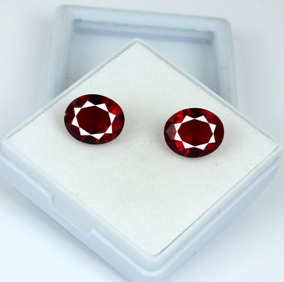 100/% Natural 6.60 Carat Oval Burma Ruby Eye Clean Gemstone Pair AGSL Certified