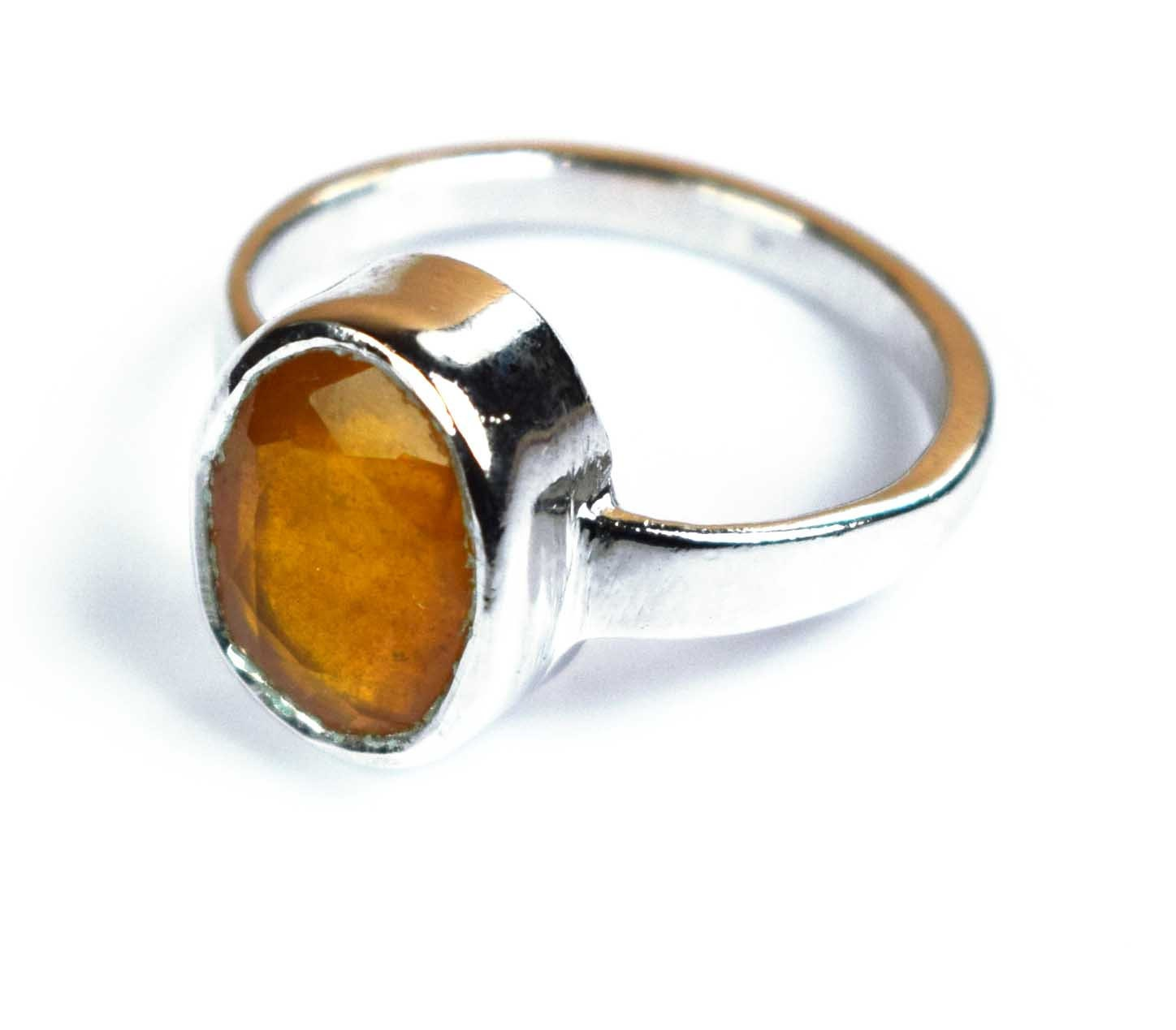925 silver natural oval Ceylon yellow sapphire gemstone ring image 0