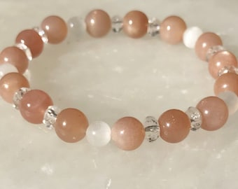 Joy Bracelet, Healing Depression, Sunstone bracelet, Selenite bracelet, Gemstone bracelet, Beaded bracelet,  Healing bracelet