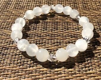 Clearing Bracelet, Selenite bracelet, Gemstone bracelet, Beaded bracelet, Gemstone jewelry, heal bracelet, Healing bracelet