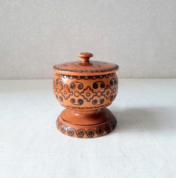Vintage Treen Wood Dish Bowl Kitsch Chic Boho Jewellery Box French Chic Home