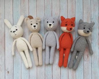 Soft toy animal, bunny, bear, cat, fox, wolf for baby