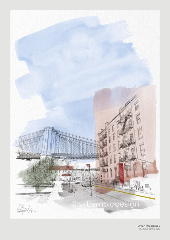 - Dumbo Flyover A5 Series New York Illustrated PrintPostcard