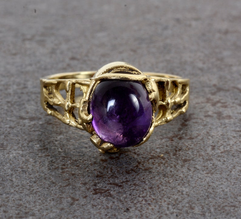 Garnet Gemstone,Brass Ring,Brass Gemstone,Vintage ring,Handmade Ring,Anniversary Ring,Gift for Him,Wedding Ring