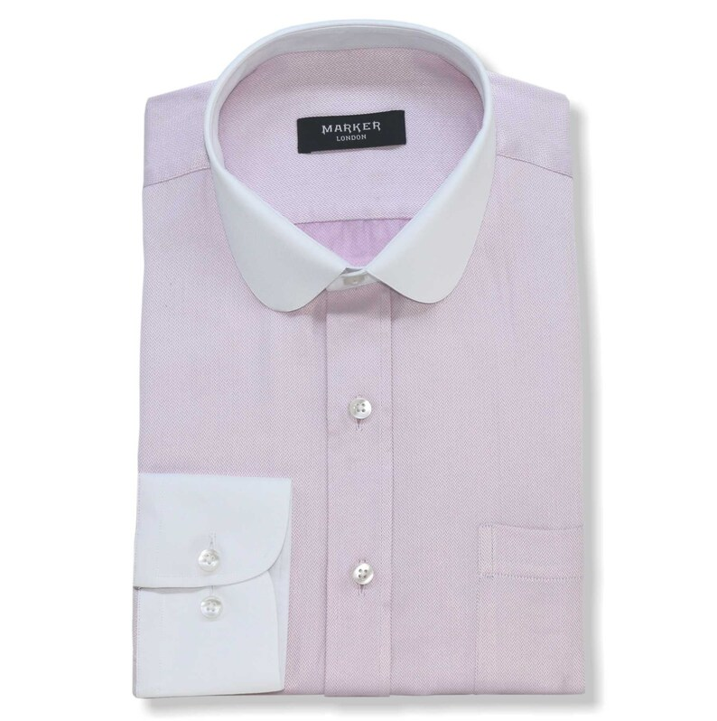 Pink Herringbone Bankers 100/% Cotton Shirts 2202IN Shelby Brothers Penny Collar Men/'s Peaky Blinders,Round Club Collar