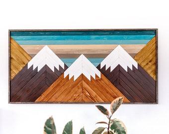 MOUNTAIN WOOD ART, Wood wall art, Geometric wood wall hanging, Snow capped mountain landscape, Blue sky mountain art, Mountain wood plaque